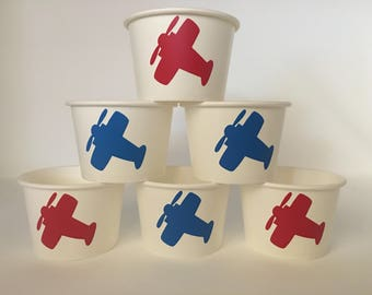 Airplane party Snack Cup, Pilot party cups, Airplane Birthday party