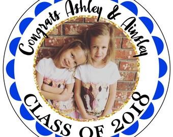graduation photo stickers, custom gold photo graduation stickers, blue and gold graduation stickers, class of 2018 stickers