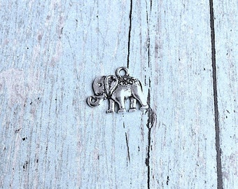 10 Small elephant charms (1 sided) silver tone - silver elephant pendants, zoo animal charms, Alabama charms, elephant charms, ZZ8
