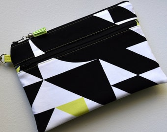 Black & White Wristlet, Double Zip Clutch, Faux Leather Wristlet, Wristlet with Card Slots, Hands Free Purse, Zipper Wallet, Gift for Her