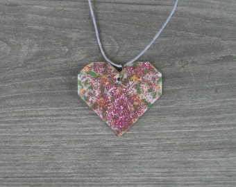 Heart Pendant Necklace // Glitter Heart // Adjustable Cord