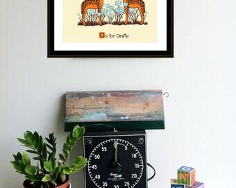 G is for Giraffe Nursery Art Print Silkscreen Alphabet Print Poster by strawberryluna Giraffe Print Kids Wall art