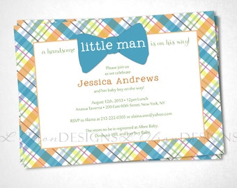 Little Man Bow Tie Baby Shower Invite - Orange Aqua - DIY Printable