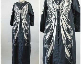 Butterfly Caftan Dress Black and White Philippines Embroidered Dress Size Large Filipiniana Filipino