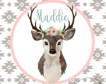 Woodland Nursery with blush tones and watercolor flowers.   Customized with child's name!  Great for baby shower gift / nursery.