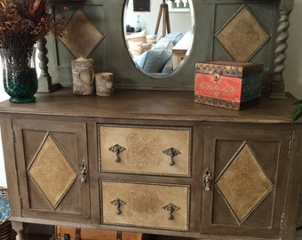 Antique Sideboard with Mirror Upstand