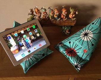 Ipad/Tablet beanie cushion in 'retro' fabric