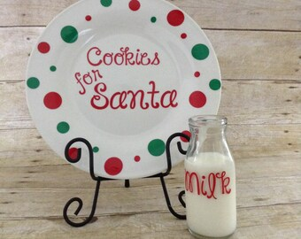 Santa cookie plate with milk glass santa plate cookies for Santa personalized set & Santa Cookie Plate u0026 Milk Mug