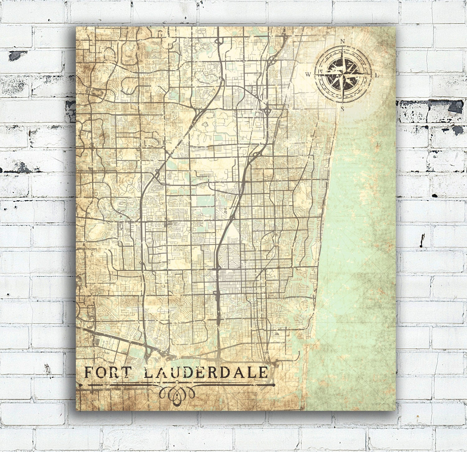 FORT LAUDERDALE Canvas Print FL Florida Vintage Map