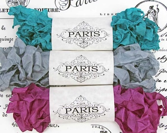 Seam Binding Ribbon- Scrunched -Shabby Crinkled Rayon Ribbon-Purple- Silver Turquoise -French Vintage -Junk Journals Supplies-  Grand Palais