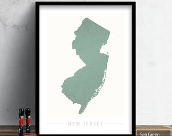 New Jersey Map - State Map of New Jersey - Art Print Watercolor Illustration Wall Art Home Decor Gift - COLOUR PRINTS