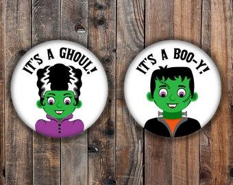 Boo-y or Ghoul halloween theme frankenstein gender reveal pins.