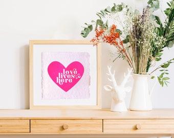 Vie amoureuse ici, impression typographique, impression d'art, aime illustration, cadeau de fête des mères, décoration chambre d'enfant, citation, fabriqué à la main, papier recyclé