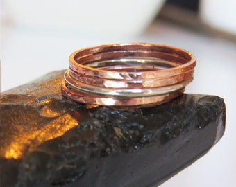Set of 4 Thin Stackable Rings, Hammered Copper Ring, Smooth Finishes Silver Ring, Copper Rings, 925 Sterling Silver Rings