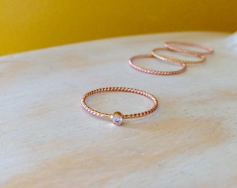 Dainty 14K Rose Gold Twisted Rope Diamond Stacking Ring Diamond Solitaire Ring 10th Year Anniversary Gift -made to order in your finger size