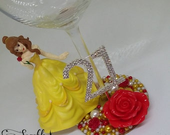 Personalised Disney Belle from Beauty and the Beast Wine Glass - 18th 21st 30th Birthday
