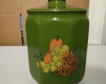 Vintage Kromex Canister/Container - Avocado Green w/ pear, grapes and daisies - USA - retro
