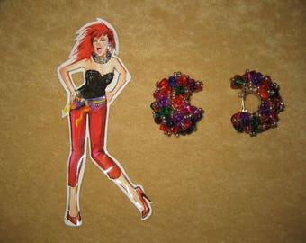 Beaded Earrings Clip Multi Color 80s Vintage