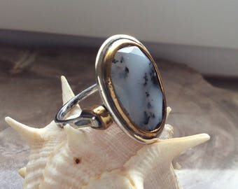 Sterling Silver Ring, Dendritic Opal Ring, Gemstone Ring, MineJewellery