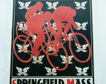 Vintage Bicycle Poster Springfield  Mass Bicycle Club Tournament Poster Size Book Plate