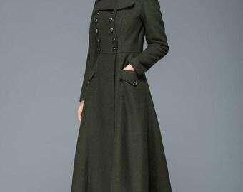 warm winter coat, long coat, fit and flare coat, double breasted coat, wool coat, military coat, womens coats, maxi coat, vintage coat C1168