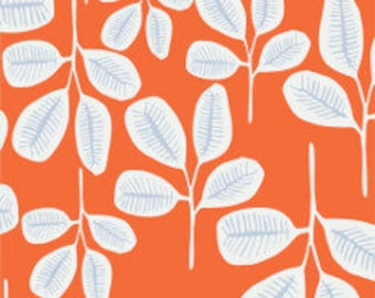 Fabric - Cloud 9 -  Floret Friday Fronds Tangerine  - Organic cotton batiste, semi sheer