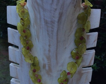 Carved Flower Olivine and Faceted Tourmaline Beaded Necklace