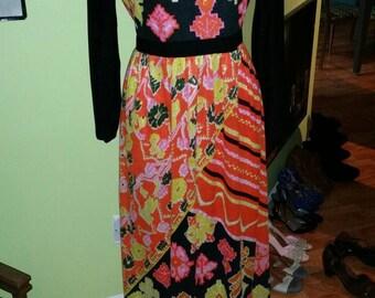 Ultra Chic Saks Fifth Avenue 1960's Colorful Ikat Print Maxi Dress