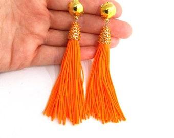 Bright Orange Clip-O Tassel Drop Statement Earrings