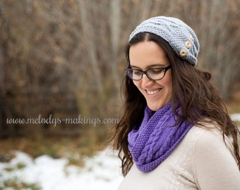 Woman's Knit Cable Hat Pattern - Knit Women's Slouch Hat Pattern - Adult Womans Knit Hat Pattern - Womans Knit Slouchy Hat Pattern
