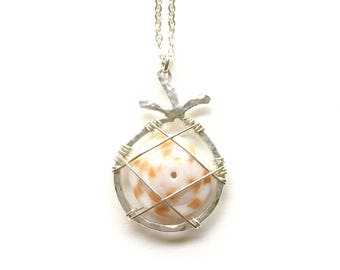 Sterling silver pineapple and Hawaiian puka shell necklace