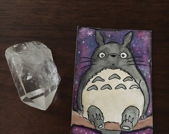 """Good Neighbor - 2.5"""" x 3.5"""" Ink and Watercolor Totoro Artist Trading Card / Sketch Card"""