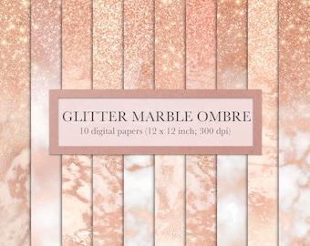 Rose gold ombre, rose gold, digital paper, marble, glitter, ombre, glitter ombre, scrapbook paper, backgrounds, pink, INSTANT DOWNLOAD