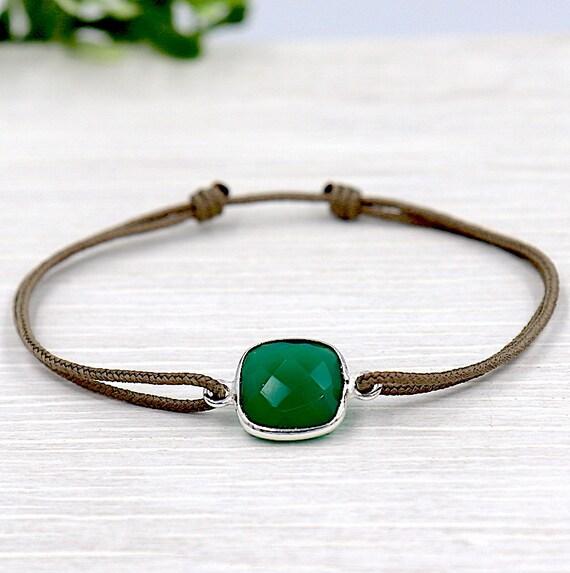 cord set green agate gem stone bracelet