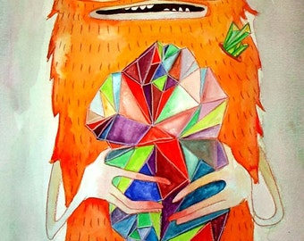 the Crystal Hunter - print watercolor painting