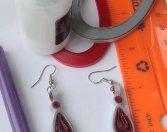 Red grey earrings, paper quilling earrings, paper quilled jewelry