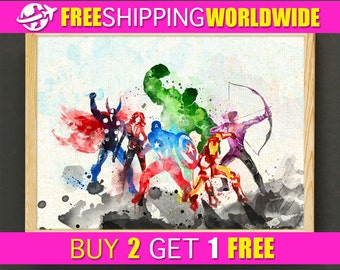 Avengers Print, Iron Man, Captain America, Marvel Superhero Poster, Watercolor Painting, Wall Decor, Gift - FREE SHIPPING - 04s2g