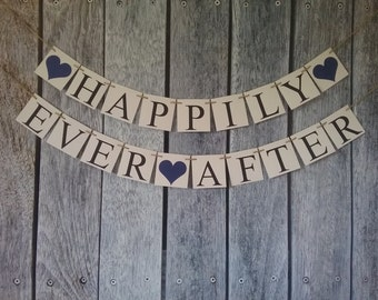 HAPPILY EVER AFTER banner, wedding banner, wedding sign, future mr and mrs, just married sign, wedding decor, wedding ideas, bridal ideas