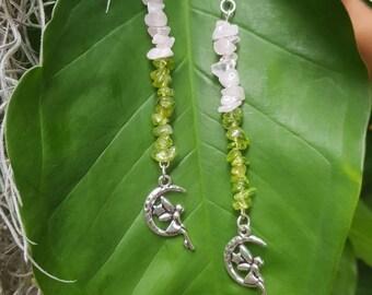 Moon Fae - Peridot and Rose Quartz earrings