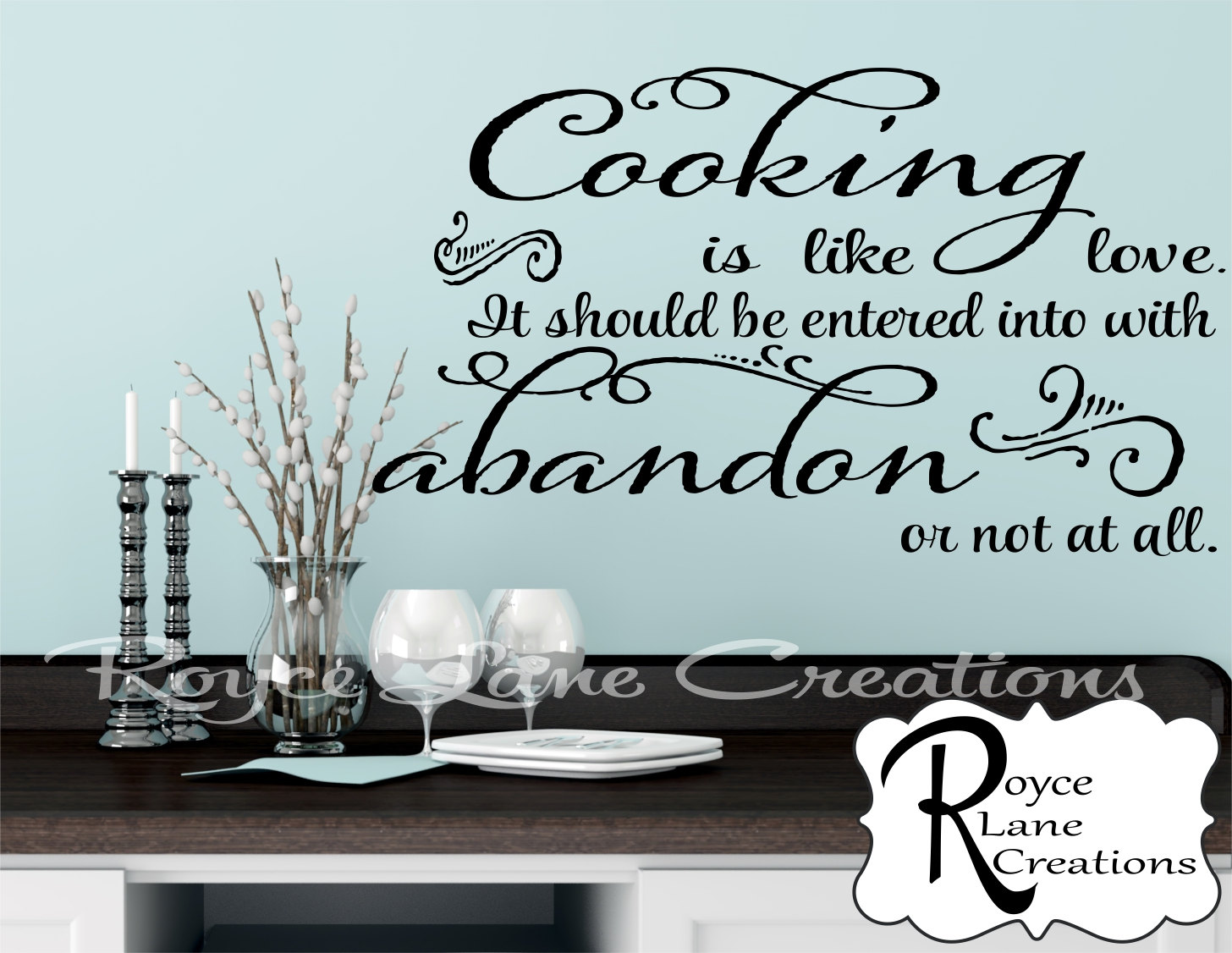 Kitchen Wall Decal- Cooking is Like Love Kitchen Quote Decal Kitchen ...