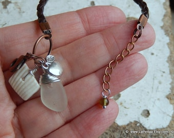 Sea Glass Stacking Bracelet with Genuine Natural Amalfi clear beach glassGlass