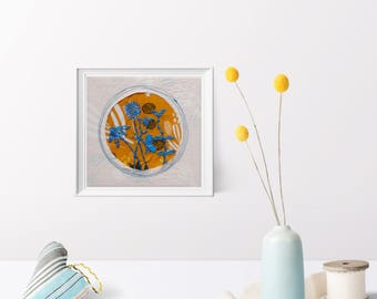 Stitched Illustration. Hand Embroidered Art. Fiber Art. Original Embroidery. Nursery Art. Butterfly Art. Modern Decor. Floral Embroidery.