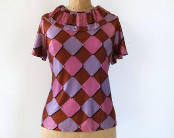 vintage 1960s blouse / 60s ruffle neckline / 60s harlequin top / 60s diamond print blouse / 60s short sleeve blouse / Large XL