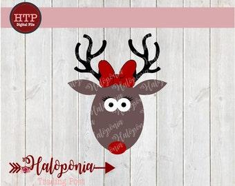 Christmas Reindeer Girl Rudolph SVG File