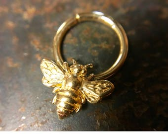 Gold Bee Septum Ring ~ Honey Bee Body Jewelry ~ Yellow Gold Dipped Sterling Silver ~ Daith Piercing ~ Wings Up Bee Nose Ring