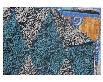 Rversible Vintage Kantha Quilt One Of Kind Indian  Handmade Indian Blanket Cotton Sticth  Bedspread  Throw Quilt  #1006