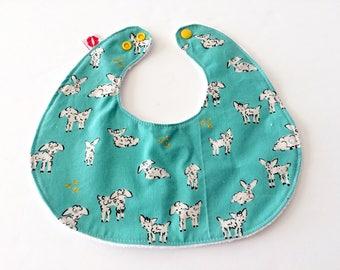Lucy  and Mabs Rifle Paper Co/Sheep /Designer Modern Baby Bib/ Drool bebe bib