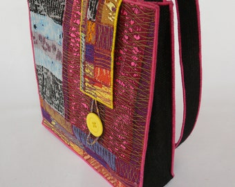 A Large Shoulder Bag from my latest collection of machine embroidered accessories