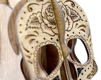 Mexican skull, Catrina, pencil holder made of plywood, walnut color, sugar skull, Mexico, death, day of the dead, holy death, order