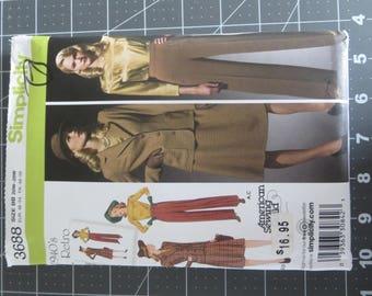 1940's Retro Simplicity 3688 size BB 20W-28W Un-cut sewing pattern